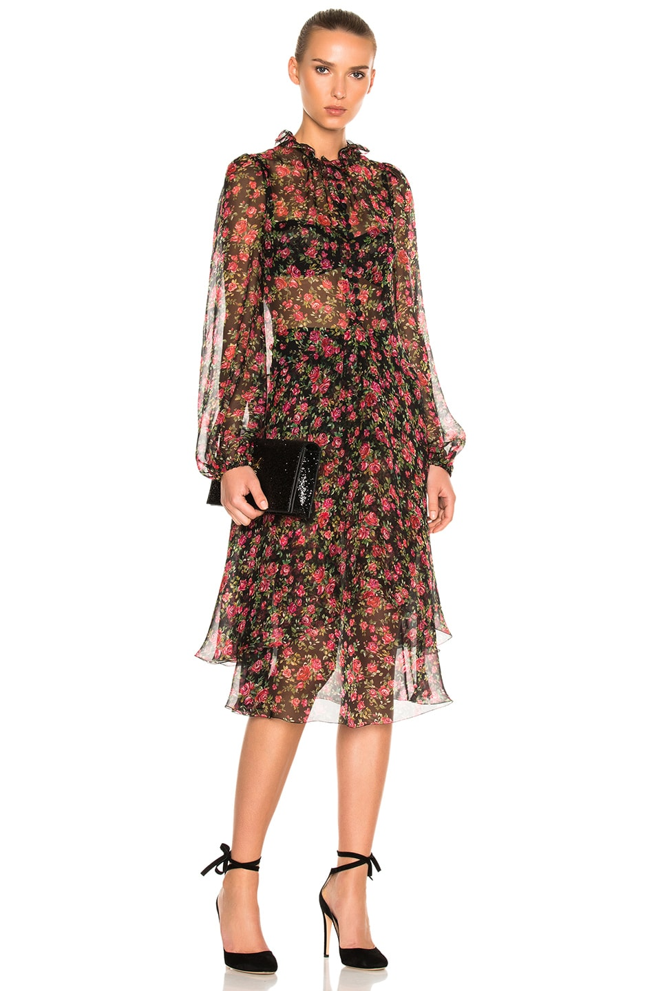 Dolce & Gabbana Sheer Floral Long Sleeve Dress in Black,Floral,Red