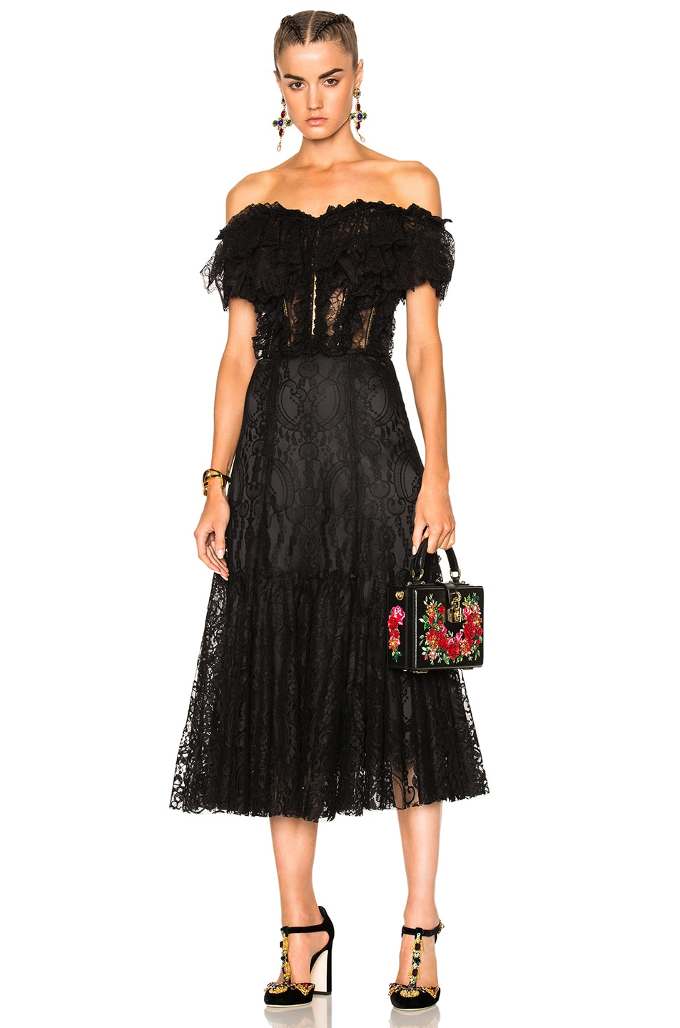 Image 1 Of Dolce Gabbana Off Shoulder Lace Dress In Black