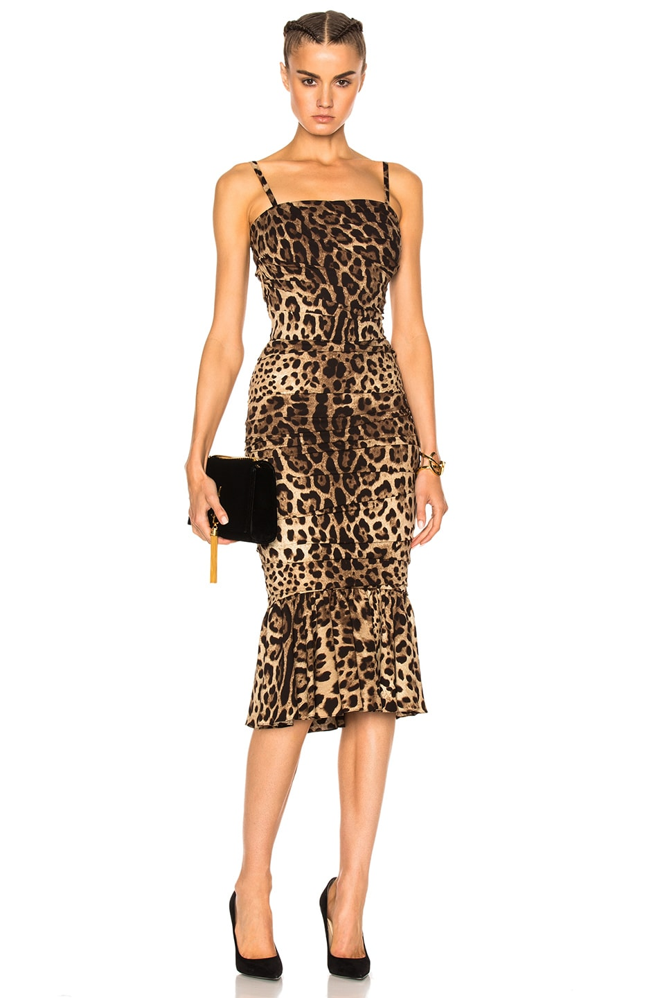 Image 1 of Dolce & Gabbana Cady Stretch Leopard Print Dress in Natural