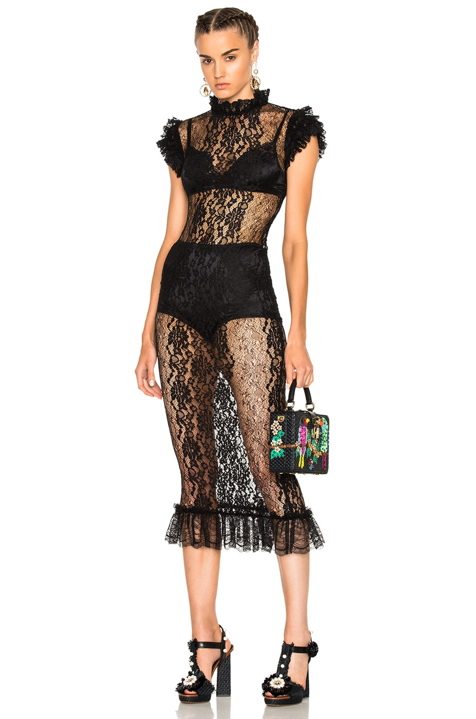 Image 1 of Dolce & Gabbana Sleeveless Lace Gown in Black