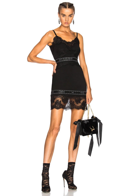 c06849e6ffb Image 1 of Dolce   Gabbana Stretch Georgette Mini Dress in Black