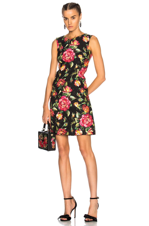 Image 1 of Dolce & Gabbana Floral Sleeveless Mini Dress in Black Multicolor