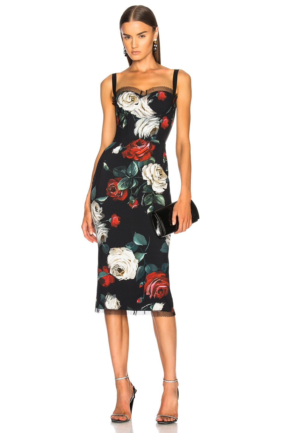 Image 1 Of Dolce Gabbana Rose Print Sleeveless Midi Dress In Black Multicolor