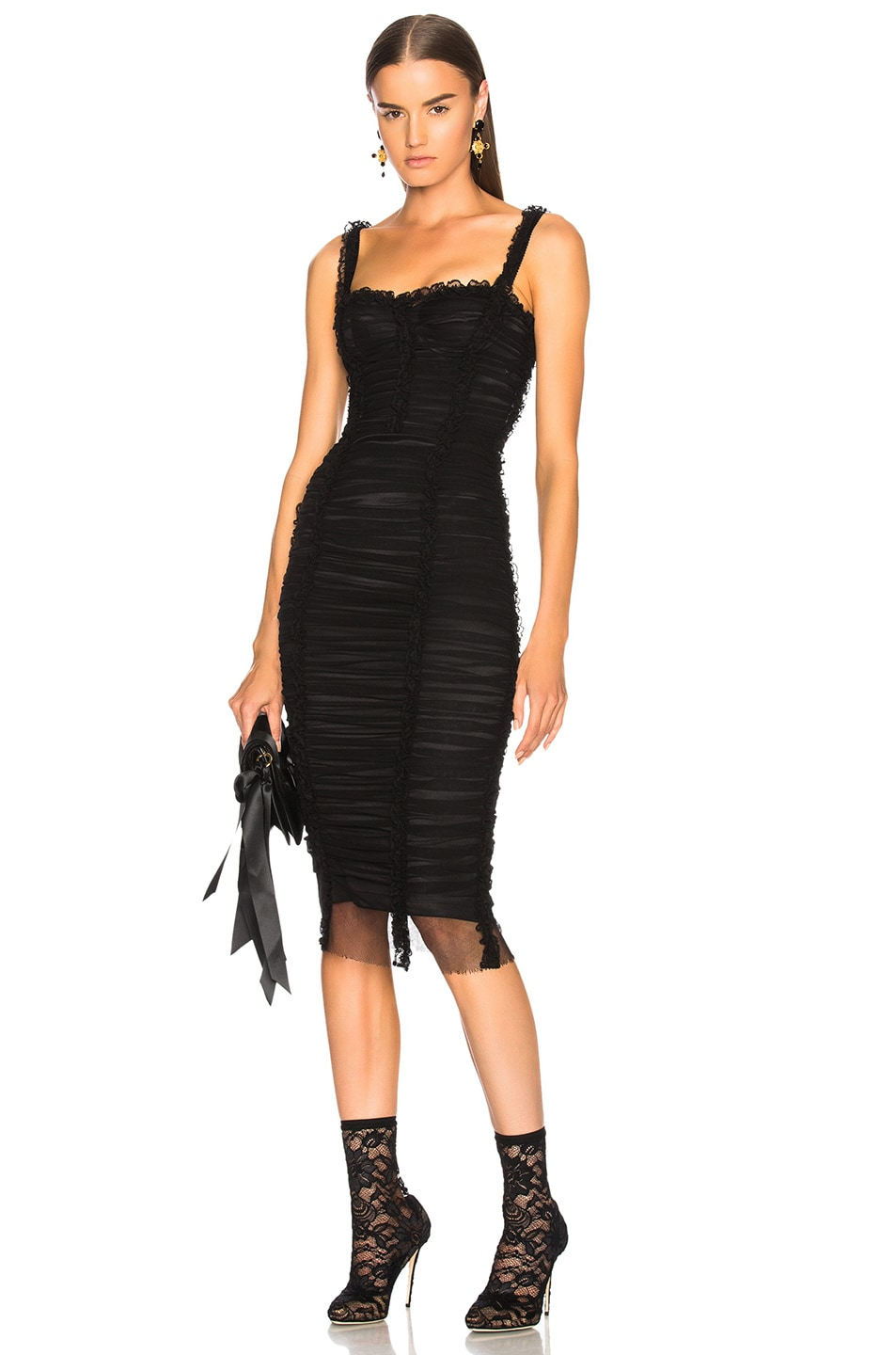 6ebb83d326 Image 1 of Dolce   Gabbana Ruched Tank Dress in Black