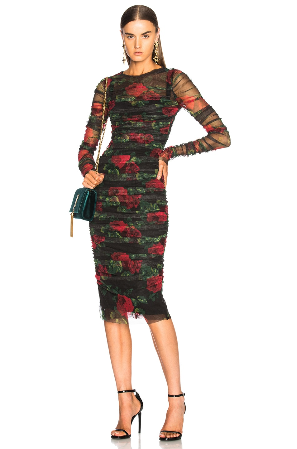 4cd1d57a0c Image 1 of Dolce   Gabbana Rose Print Tulle Ruched Dress in Black   Red