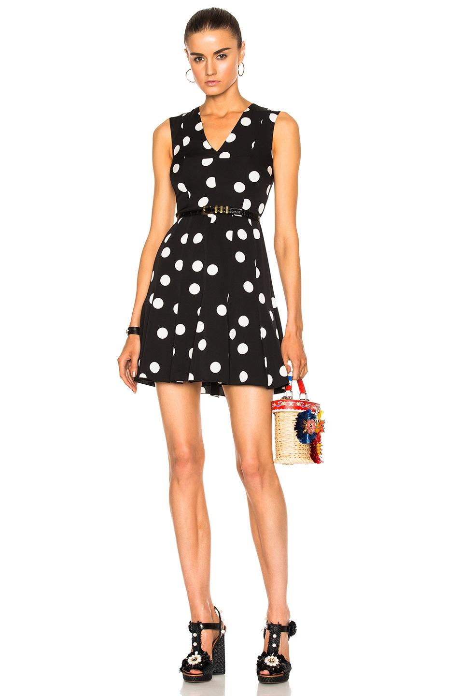 Dolce & Gabbana Sleeveless Polka Dot Dress in Black & White | FWRD