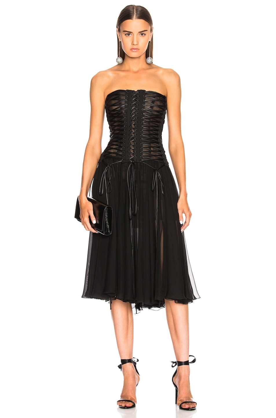 Image 1 of Dolce & Gabbana Corset Tank Dress in Black