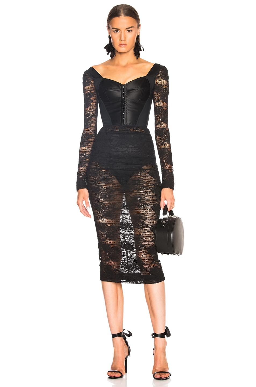 9bcca05d7d2c7 Dolce & Gabbana Lace Corset Midi Dress in Black | FWRD