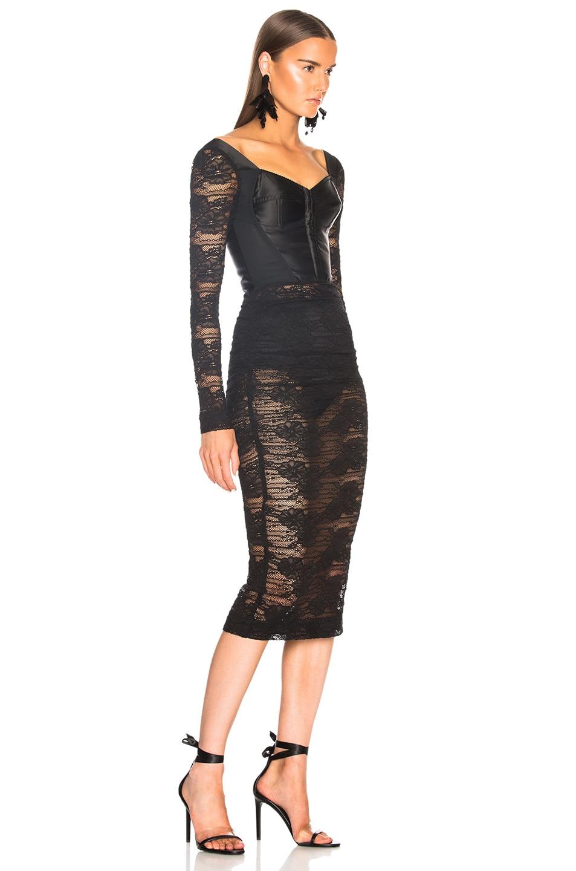 Image 2 of Dolce & Gabbana Lace Corset Midi Dress in Black