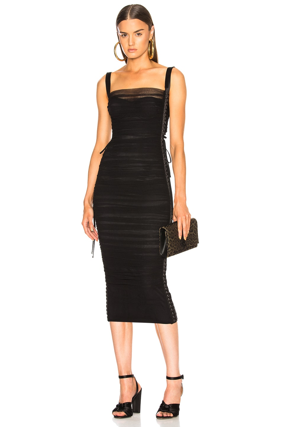 7165385012 Image 1 of Dolce   Gabbana Ruched Midi Dress in Black