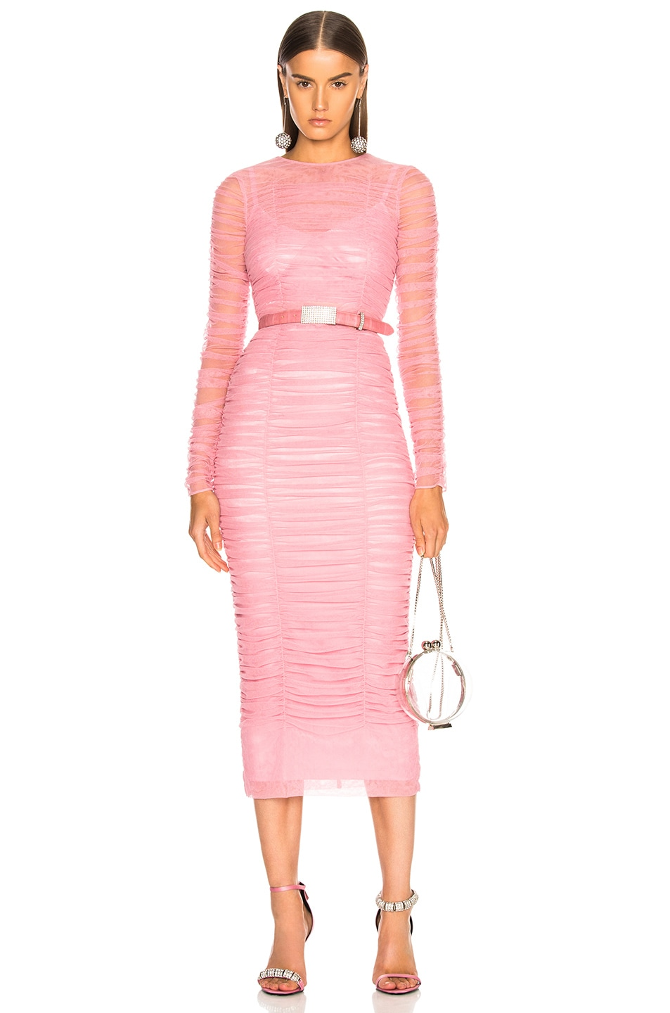 Image 1 of Dolce & Gabbana Ruched Long Sleeve Dress in Light Pink