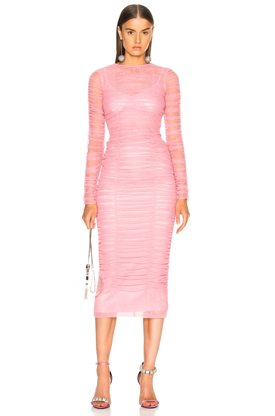 Image 2 of Dolce & Gabbana Ruched Long Sleeve Dress in Light Pink