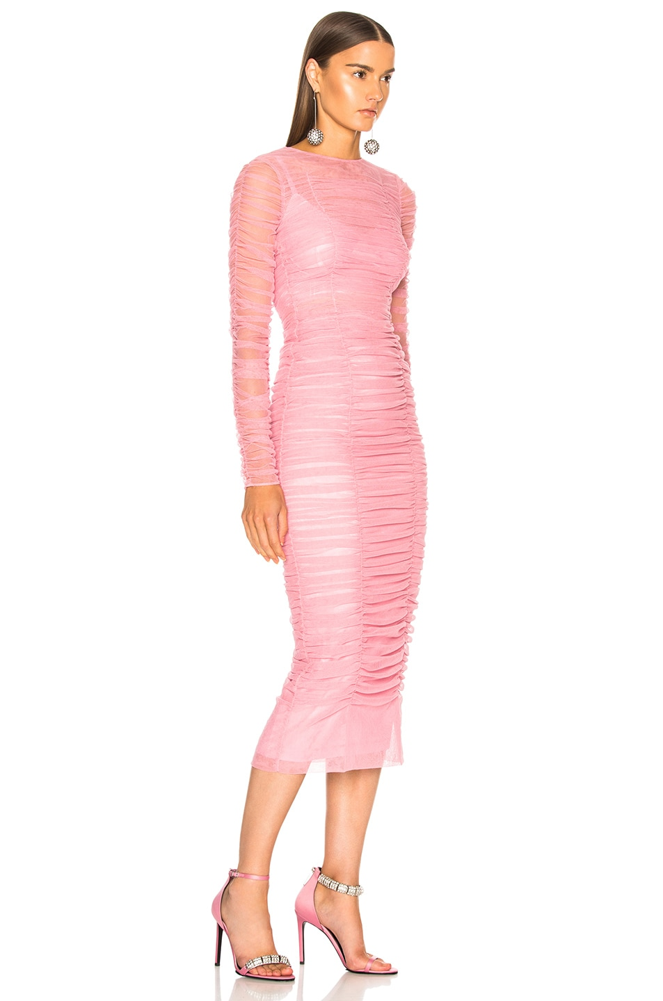Image 3 of Dolce & Gabbana Ruched Long Sleeve Dress in Light Pink