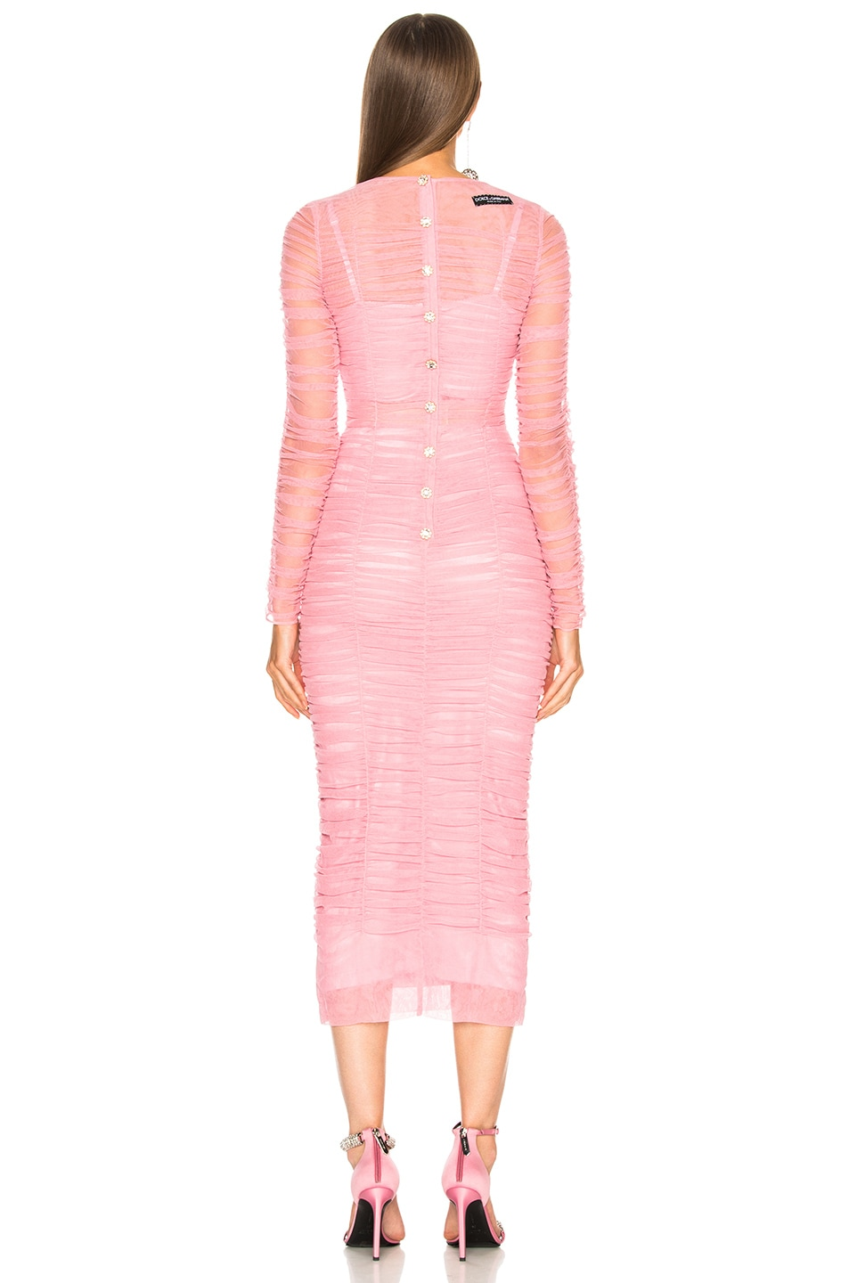 Image 4 of Dolce & Gabbana Ruched Long Sleeve Dress in Light Pink