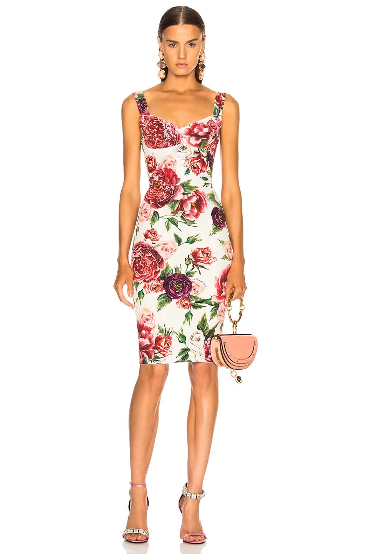 4586b0f660f Image 1 of Dolce   Gabbana Peony Print Charmeuse Midi Dress in Pink