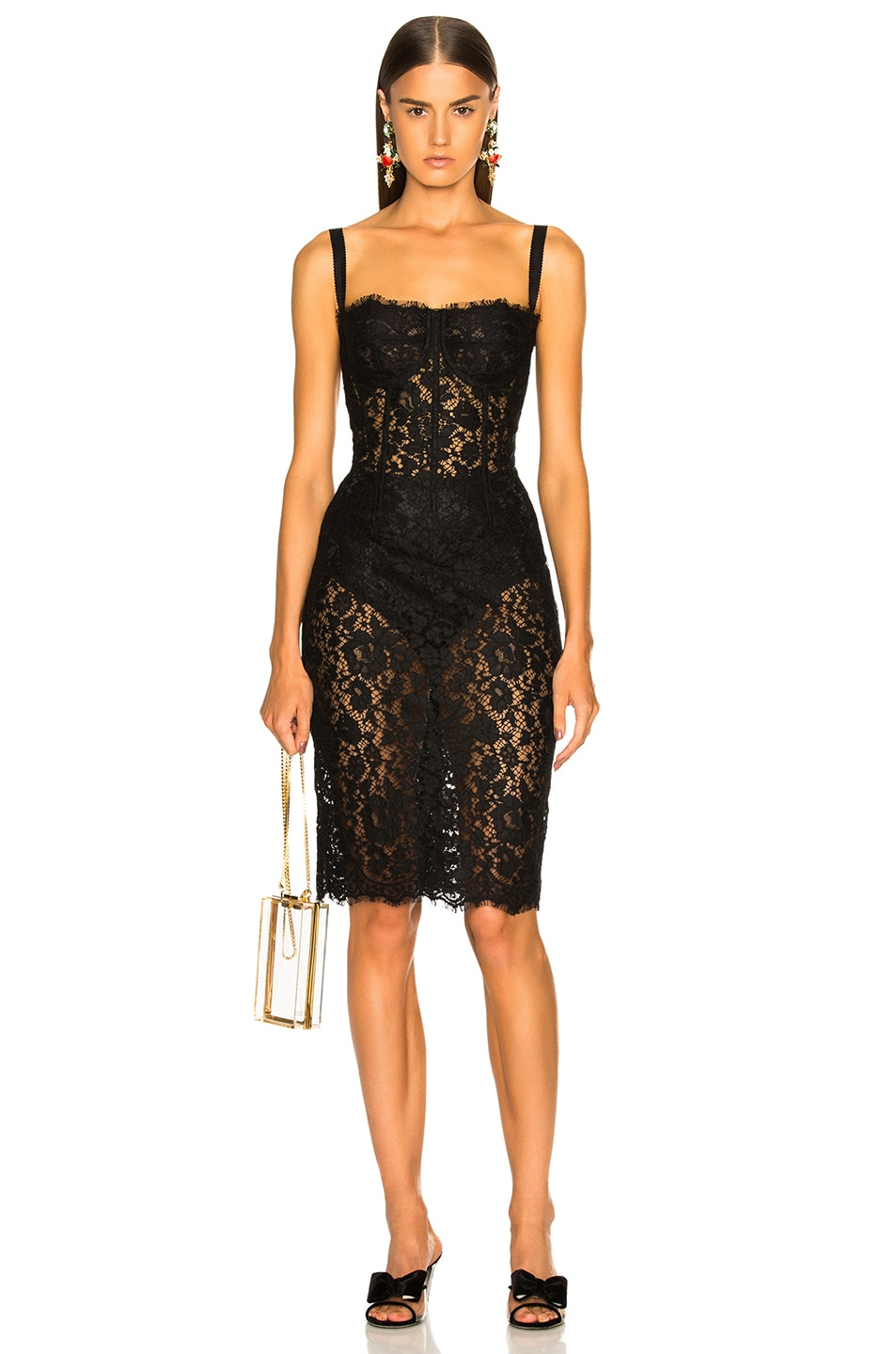 Image 1 of Dolce & Gabbana Lace Bustier Dress in Black