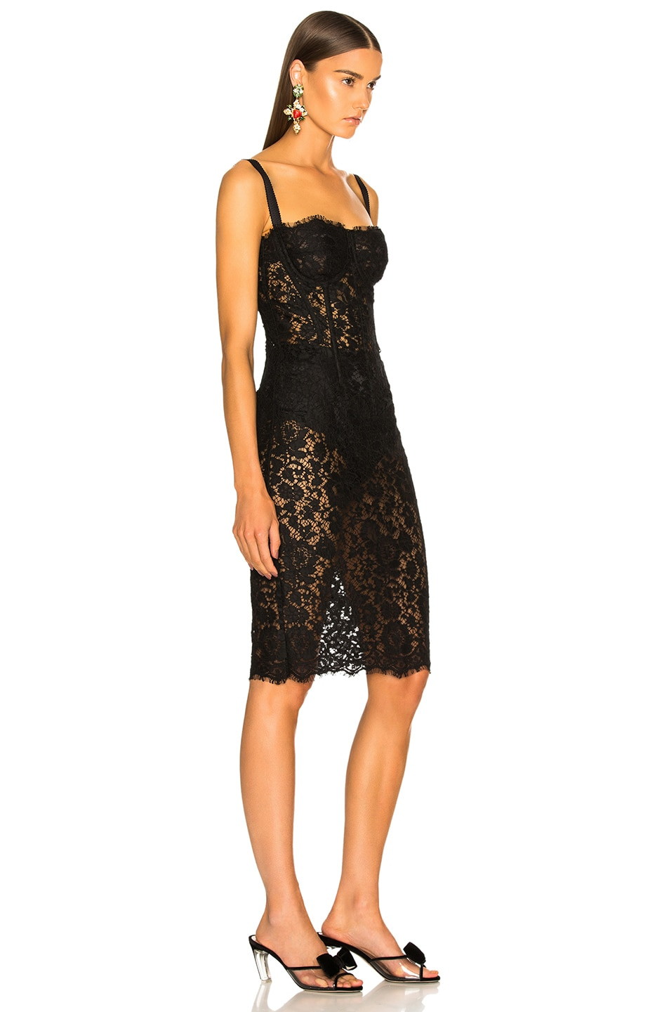 Image 2 of Dolce & Gabbana Lace Bustier Dress in Black