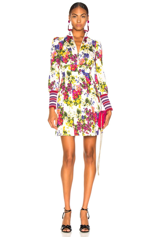Image 1 of Dolce & Gabbana Fiorellini Print Charmeuse High Collar Dress in White Multicolor