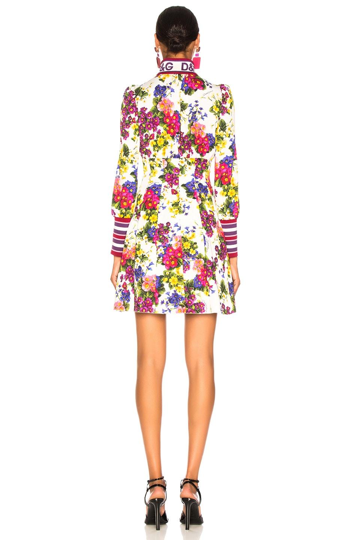 Image 4 of Dolce & Gabbana Fiorellini Print Charmeuse High Collar Dress in White Multicolor