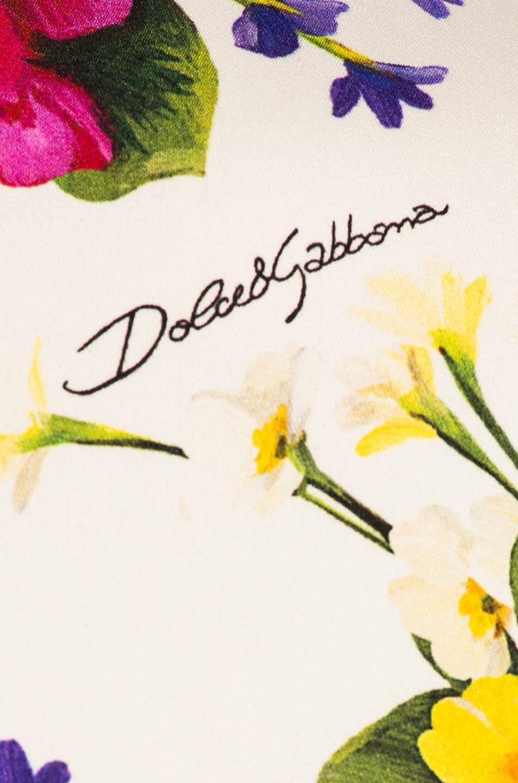 Image 5 of Dolce & Gabbana Fiorellini Print Charmeuse High Collar Dress in White Multicolor