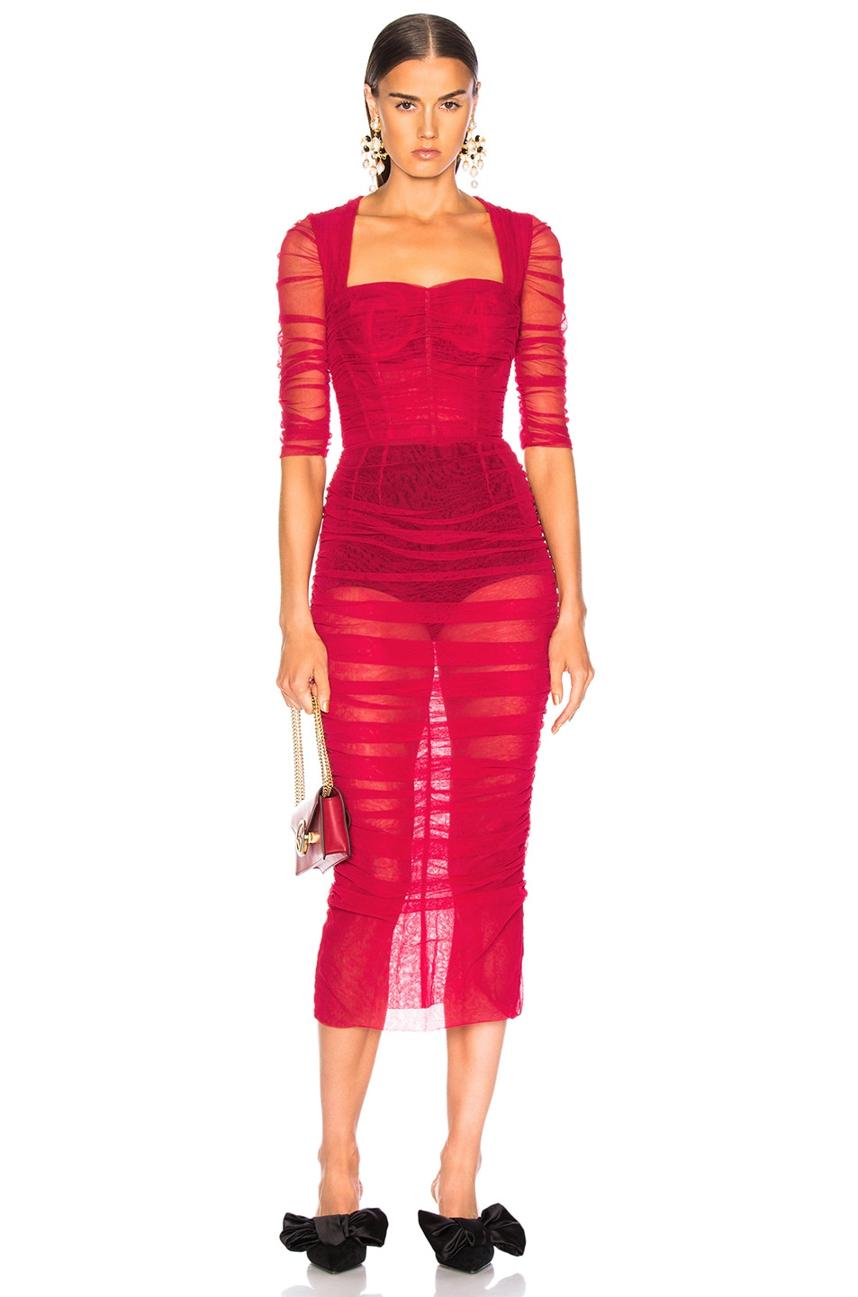 Image 1 of Dolce & Gabbana Ruched Tulle Midi Dress in Red