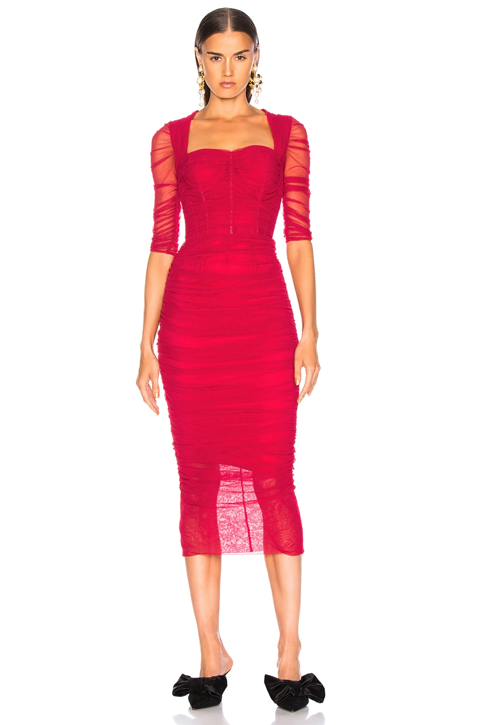 Image 2 of Dolce & Gabbana Ruched Tulle Midi Dress in Red