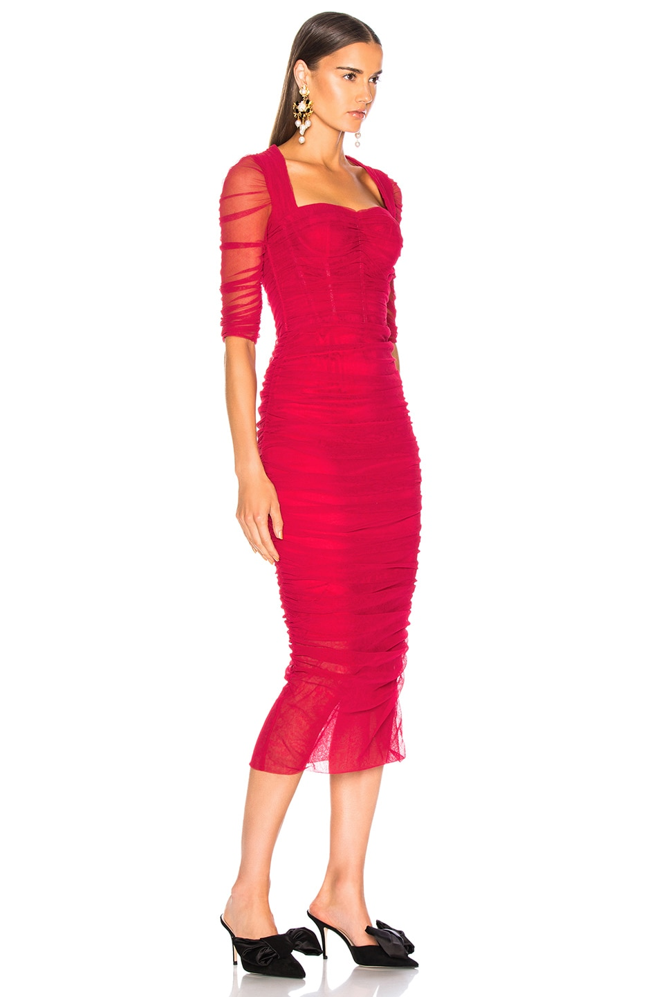 Image 3 of Dolce & Gabbana Ruched Tulle Midi Dress in Red