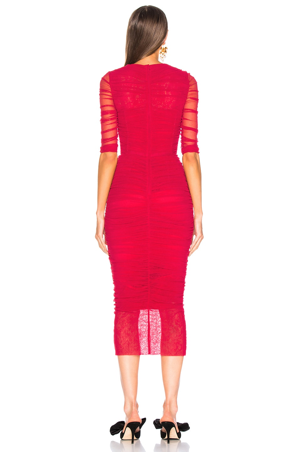 Image 4 of Dolce & Gabbana Ruched Tulle Midi Dress in Red