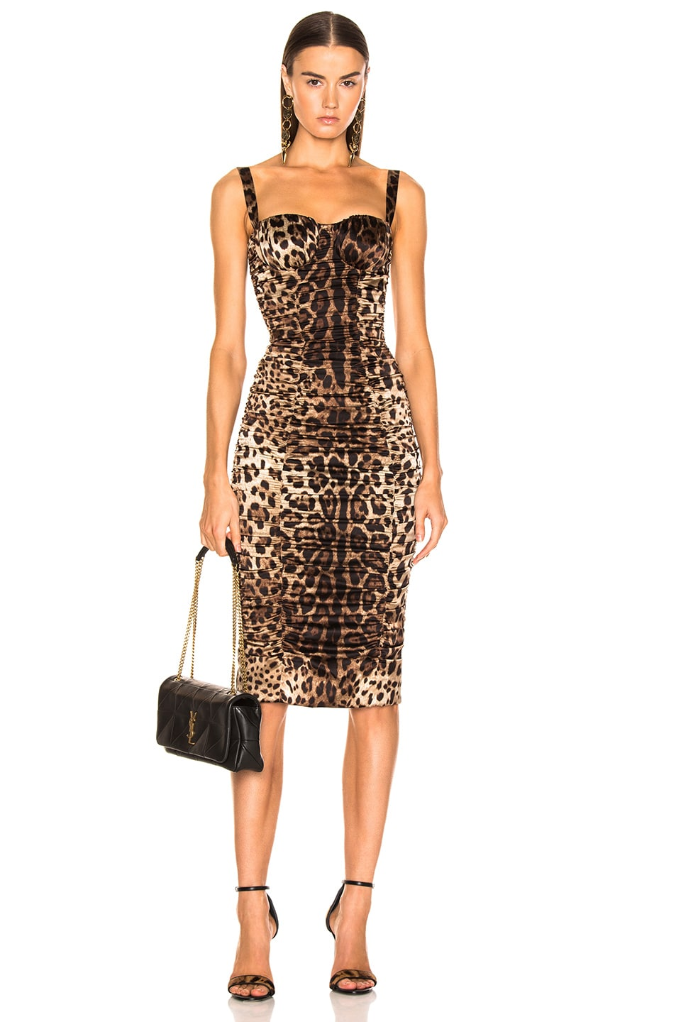 Image 1 of Dolce & Gabbana Leo Print Silk Ruched Dress in Cheetah
