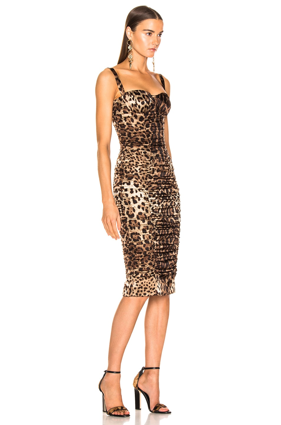 Image 2 of Dolce & Gabbana Leo Print Silk Ruched Dress in Cheetah