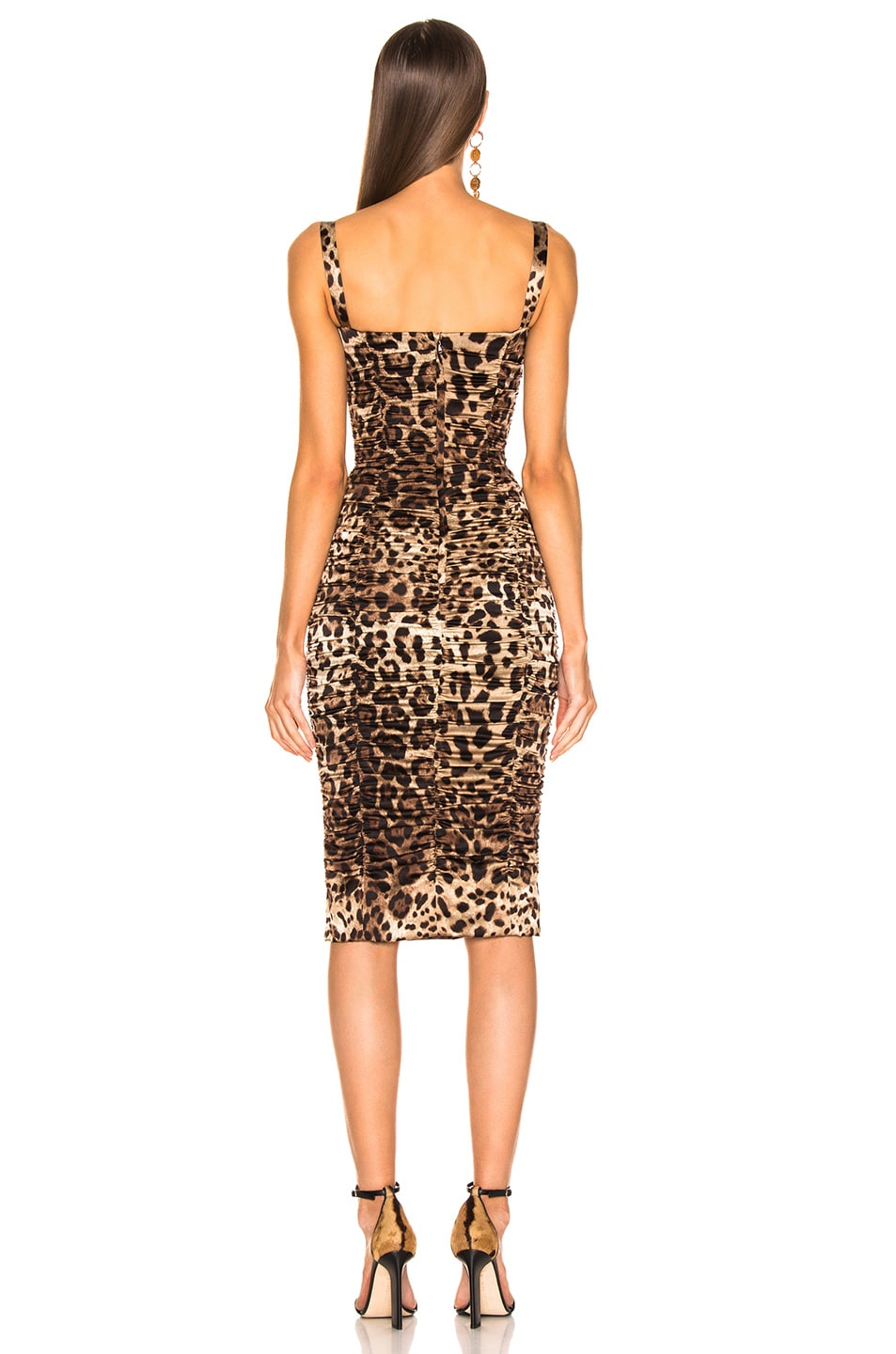 Image 3 of Dolce & Gabbana Leo Print Silk Ruched Dress in Cheetah