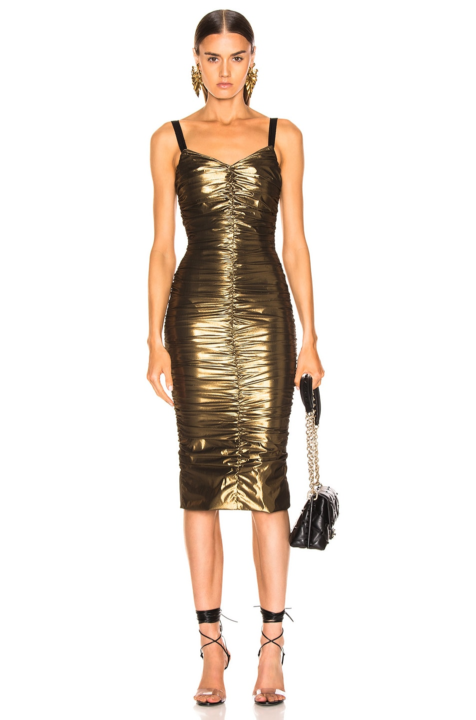 Image 1 of Dolce & Gabbana Stretch Lame Ruched Dress in Gold