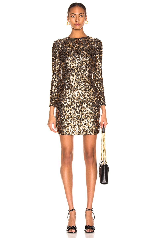 Image 1 of Dolce & Gabbana Leo Print Sequin Long Sleeve Dress in Cheetah