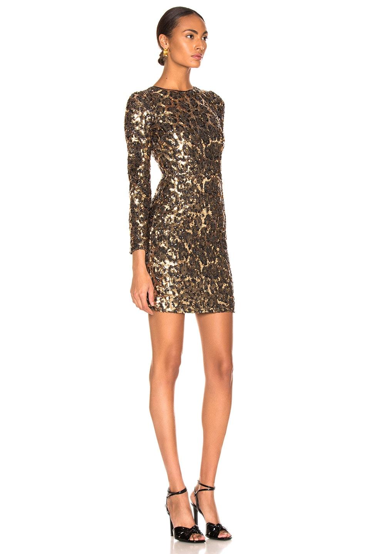 Image 2 of Dolce & Gabbana Leo Print Sequin Long Sleeve Dress in Cheetah