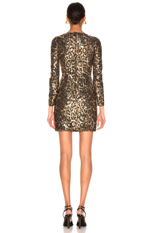 Image 3 of Dolce & Gabbana Leo Print Sequin Long Sleeve Dress in Cheetah
