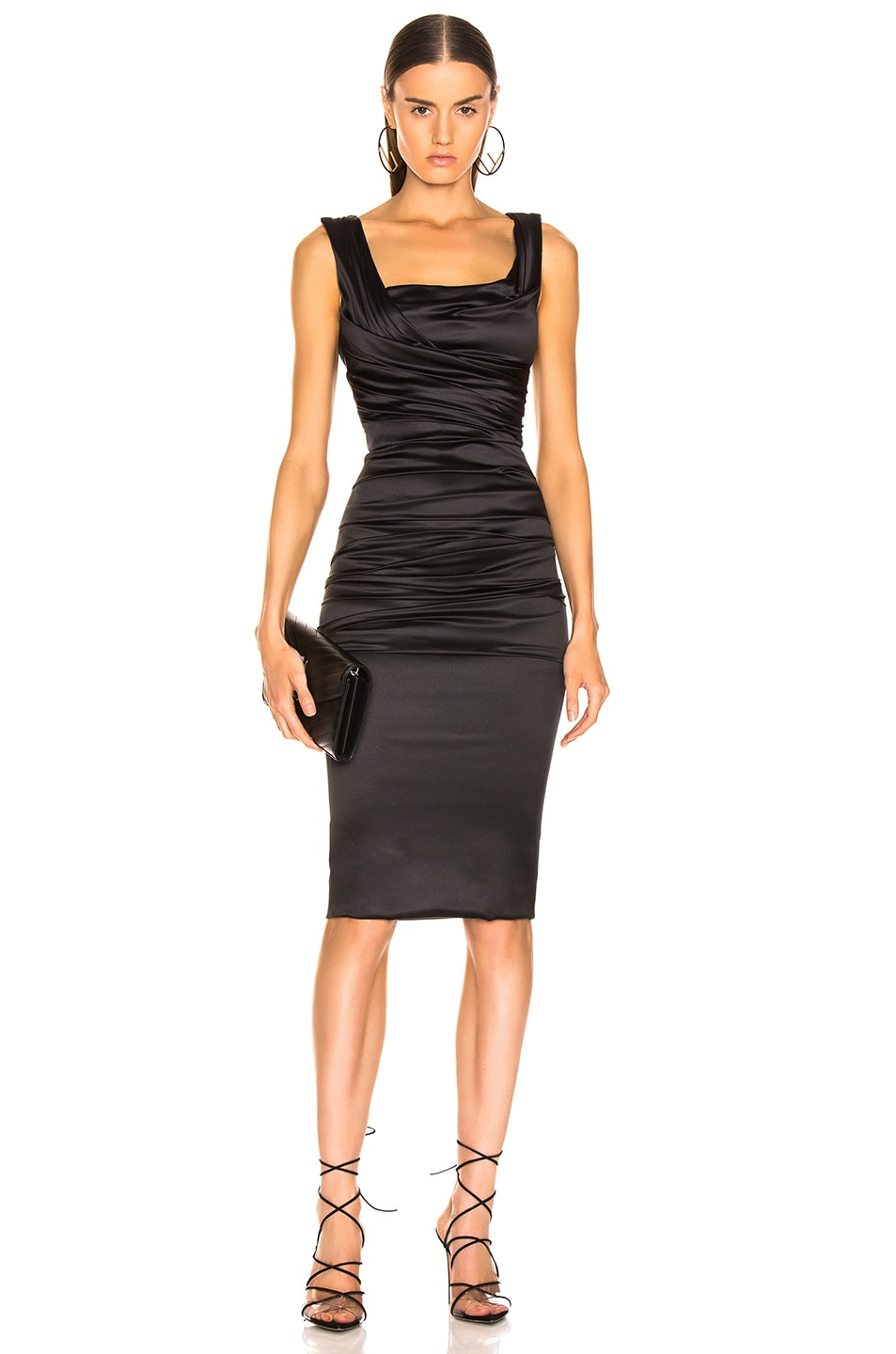 Image 1 of Dolce & Gabbana Satin Ruched Sleeveless Dress in Black