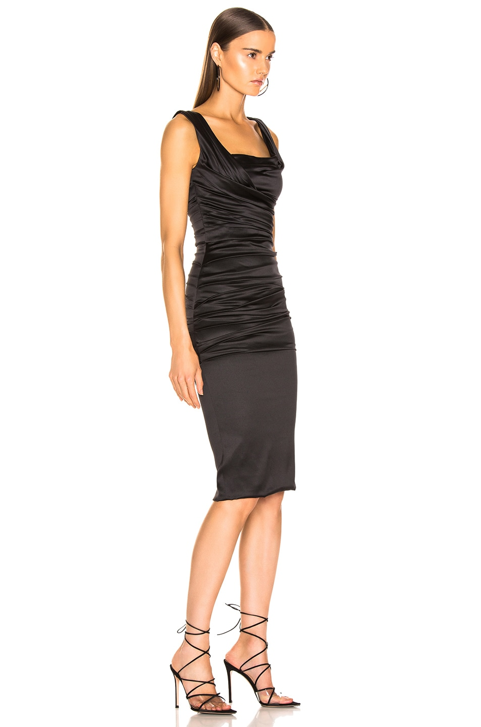 Image 2 of Dolce & Gabbana Satin Ruched Sleeveless Dress in Black