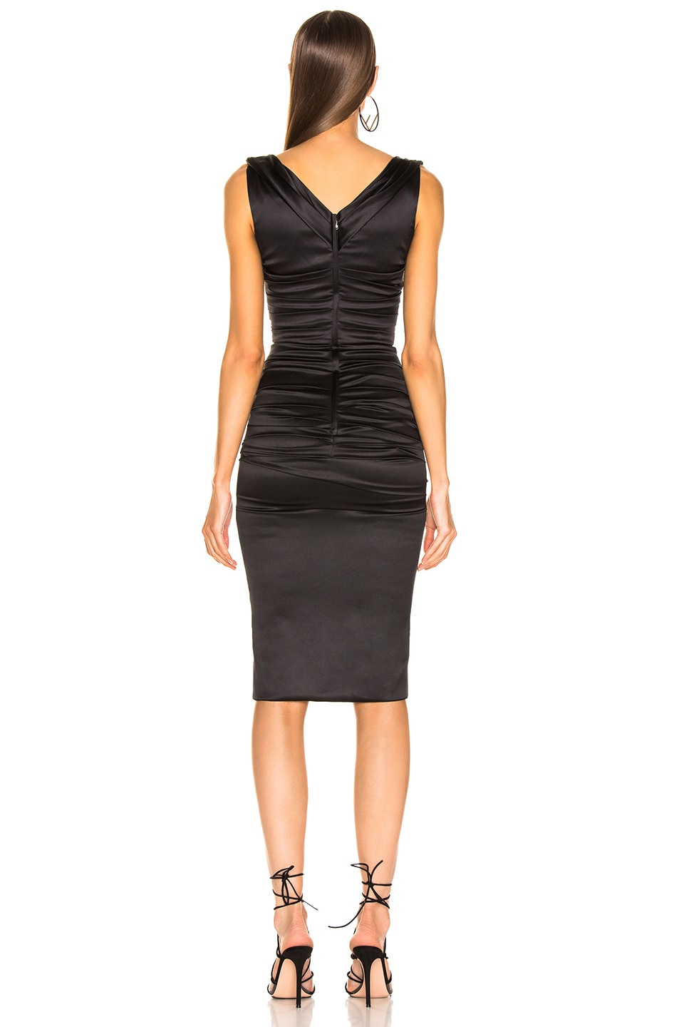 Image 3 of Dolce & Gabbana Satin Ruched Sleeveless Dress in Black