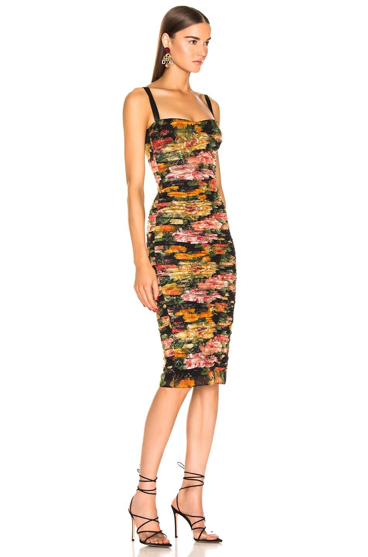 Image 2 of Dolce & Gabbana Multi Floral Print Tulle Tubino Dress in Multi