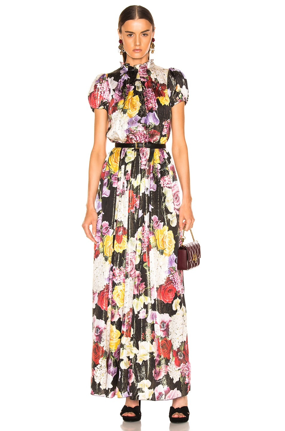 Image 1 of Dolce & Gabbana Multi Floral Lurex Short Sleeve Gown in Pink Multi