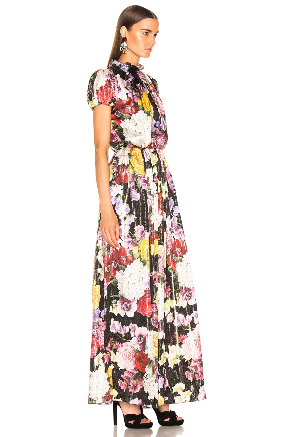 Image 2 of Dolce & Gabbana Multi Floral Lurex Short Sleeve Gown in Pink Multi