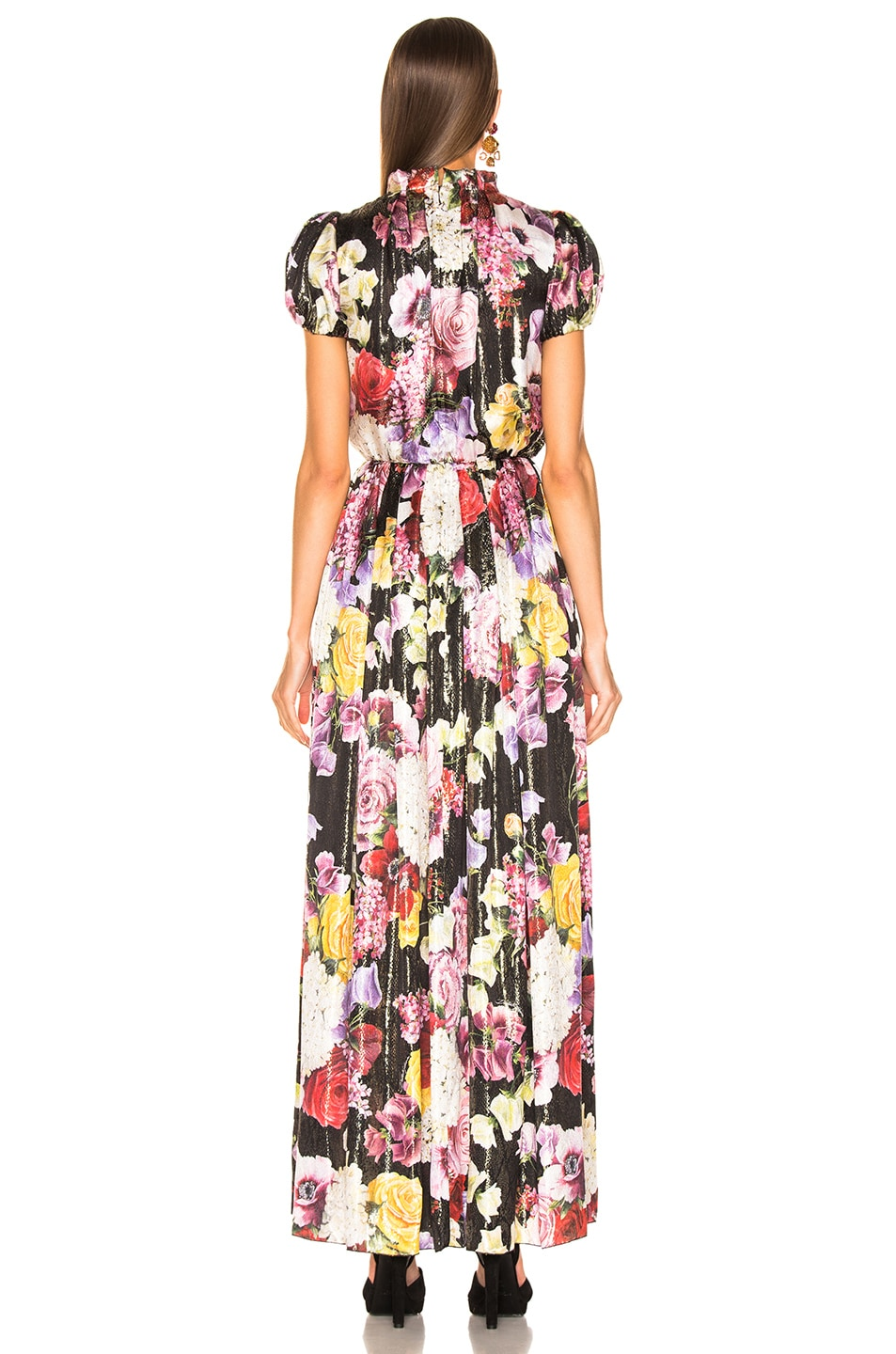 Image 3 of Dolce & Gabbana Multi Floral Lurex Short Sleeve Gown in Pink Multi