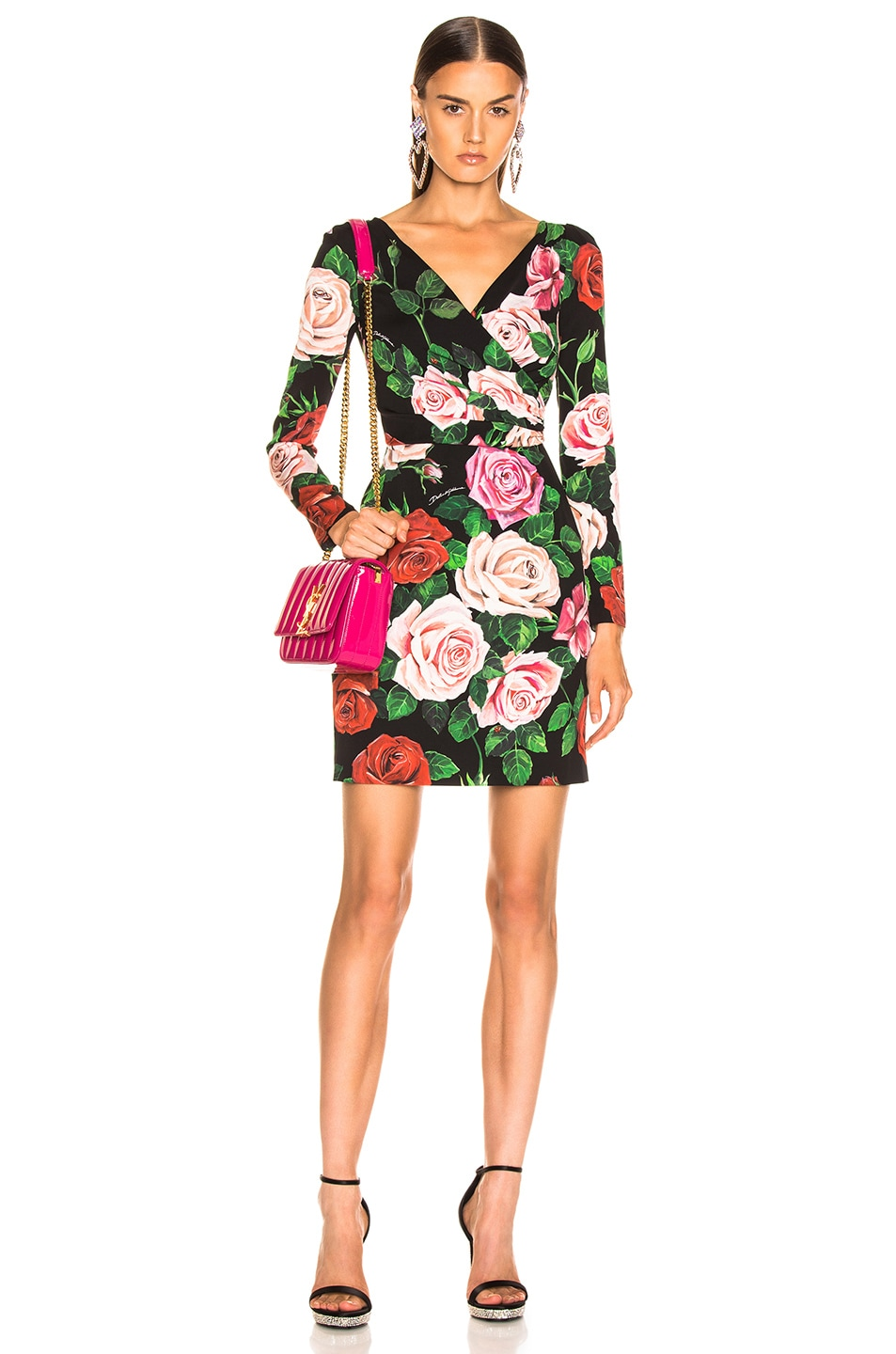 Image 1 of Dolce & Gabbana Rose Print Charmeuse Long Sleeve Dress in Rose Multi