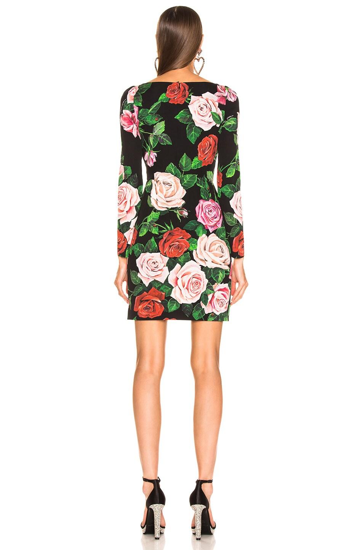 Image 3 of Dolce & Gabbana Rose Print Charmeuse Long Sleeve Dress in Rose Multi