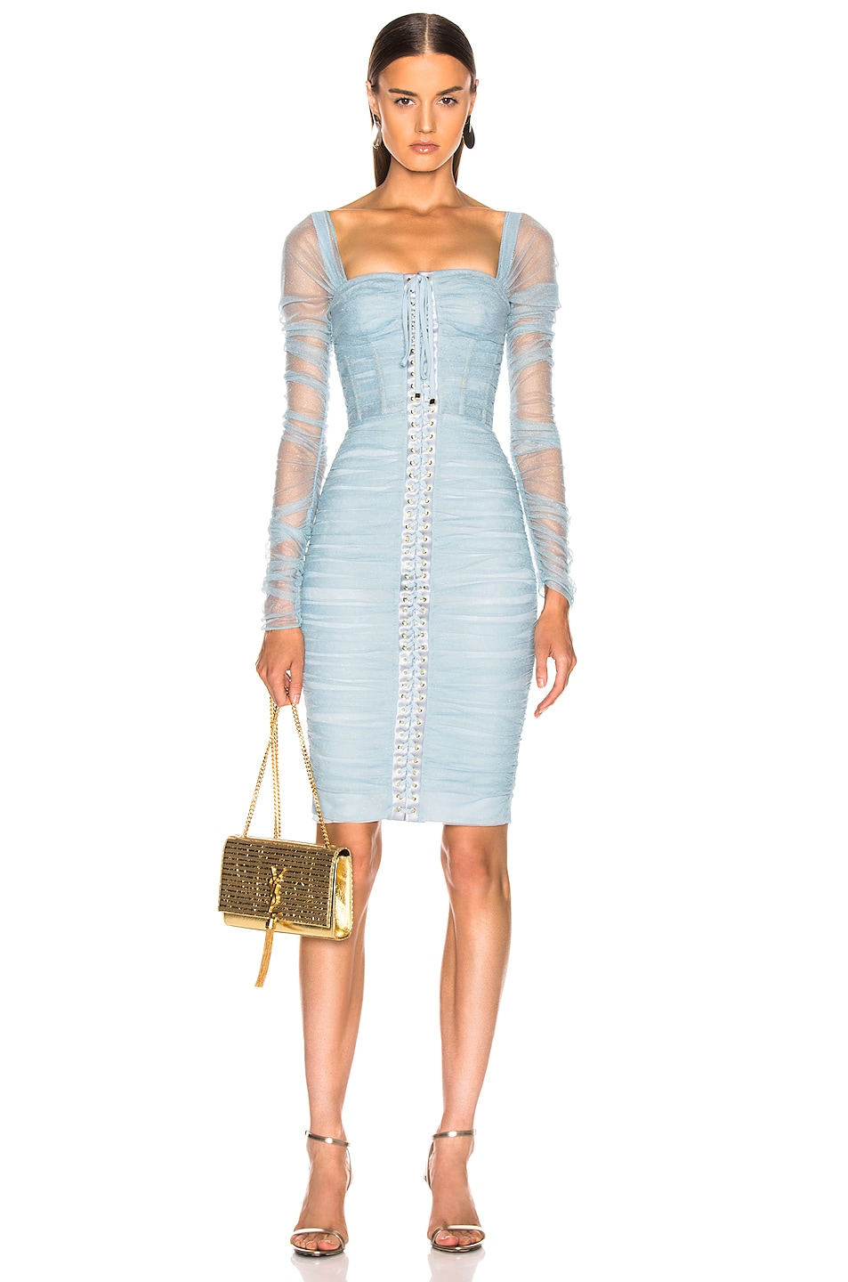 Image 1 of Dolce & Gabbana Ruched Long Sleeve Dress in Blue