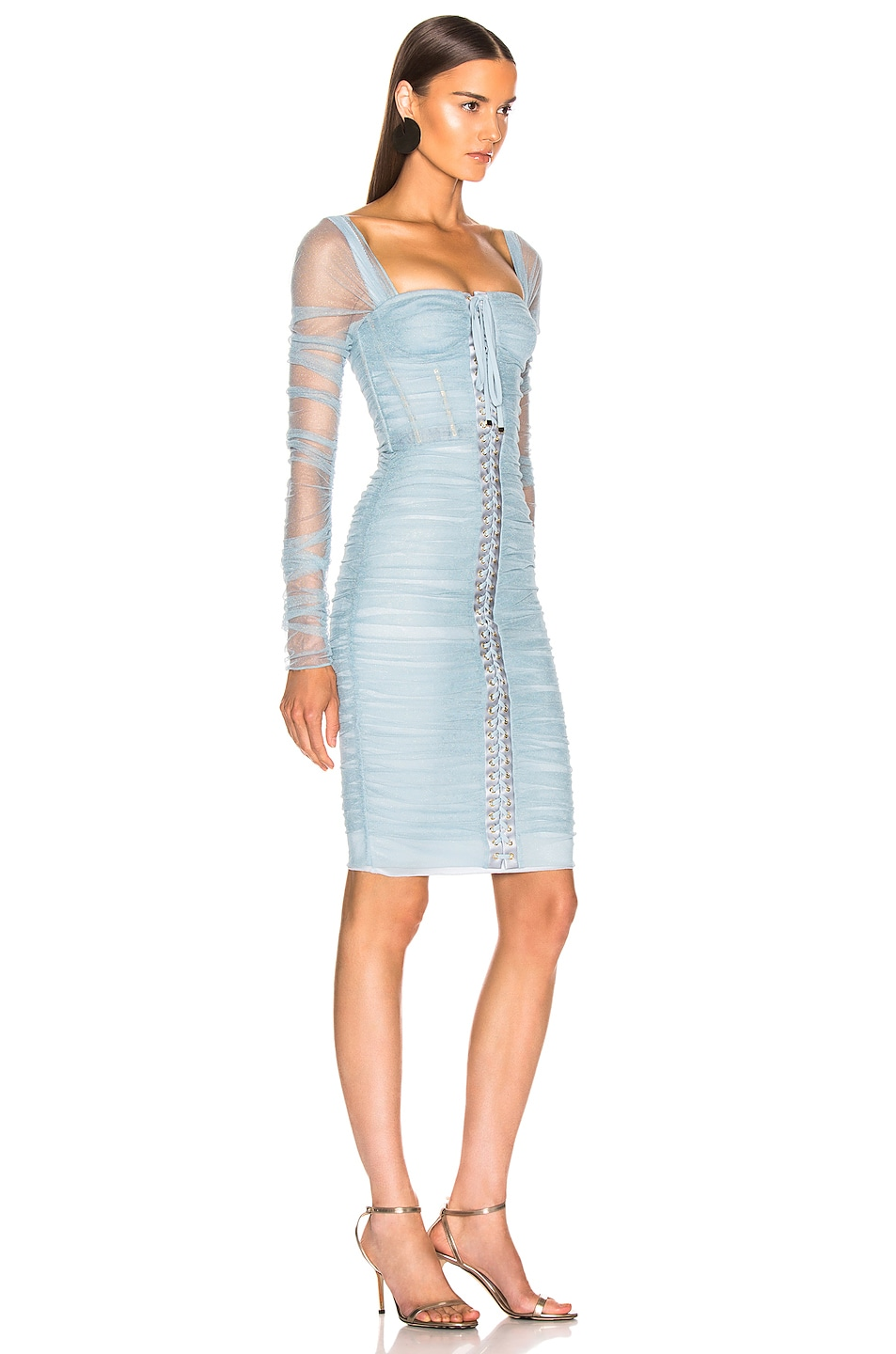 Image 2 of Dolce & Gabbana Ruched Long Sleeve Dress in Blue