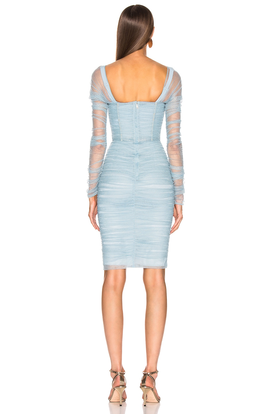 Image 3 of Dolce & Gabbana Ruched Long Sleeve Dress in Blue