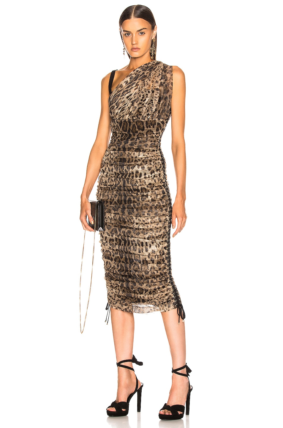 Image 1 of Dolce & Gabbana Leopard One Shoulder Dress in Leopard