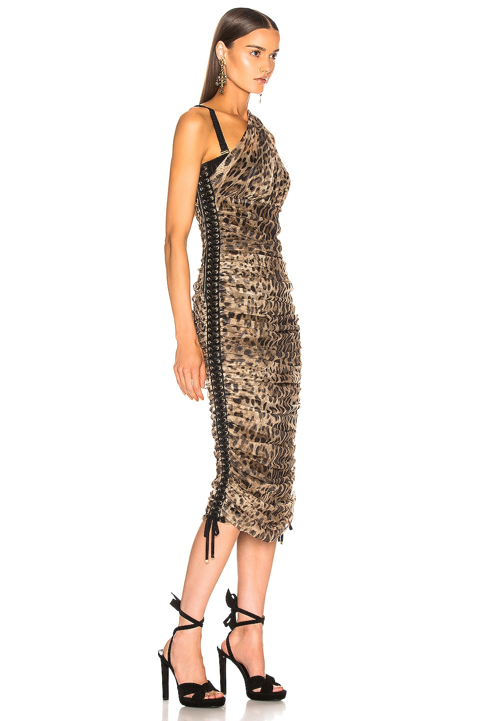 Image 2 of Dolce & Gabbana Leopard One Shoulder Dress in Leopard