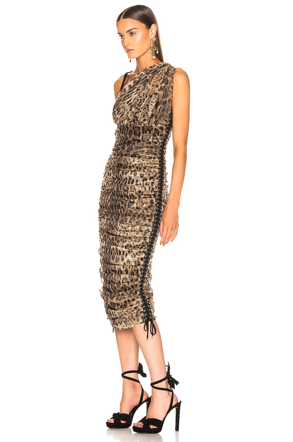 Image 3 of Dolce & Gabbana Leopard One Shoulder Dress in Leopard